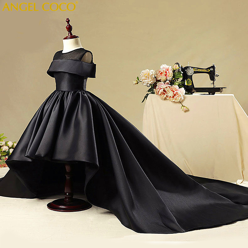 Fashion Girls Party Dress Black Satin Evening Gown Princess Birthday Party Dresses Children Princess Wedding Clothes Robe Fille все цены