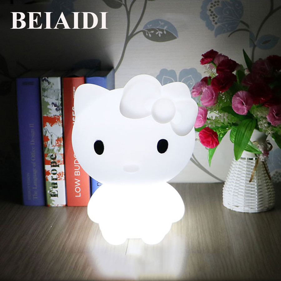BEIAIDI 16 Color Kitty Cat Led Night Light With Remote Atmosphere Mood Table Desk Lamps Rechargeable RGB Cartoon Bedside Lamp mabor wake up light display bedside mood snooze desk lamp alarm clock night bulb