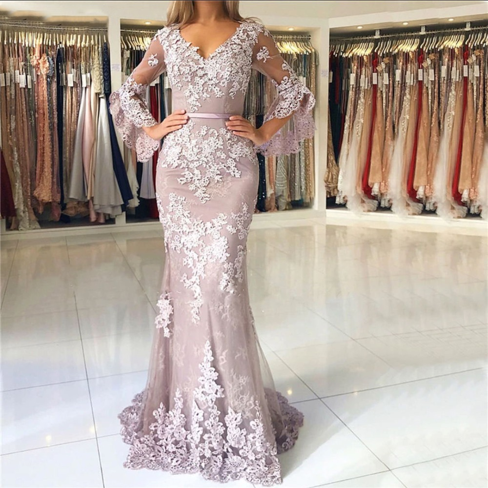 2019 Flare 1/2 Long Sleeves Lace Mermaid   Prom     Dresses   V Neck Lace Applique Floor Length Formal Party Evening   Dresses   With Button