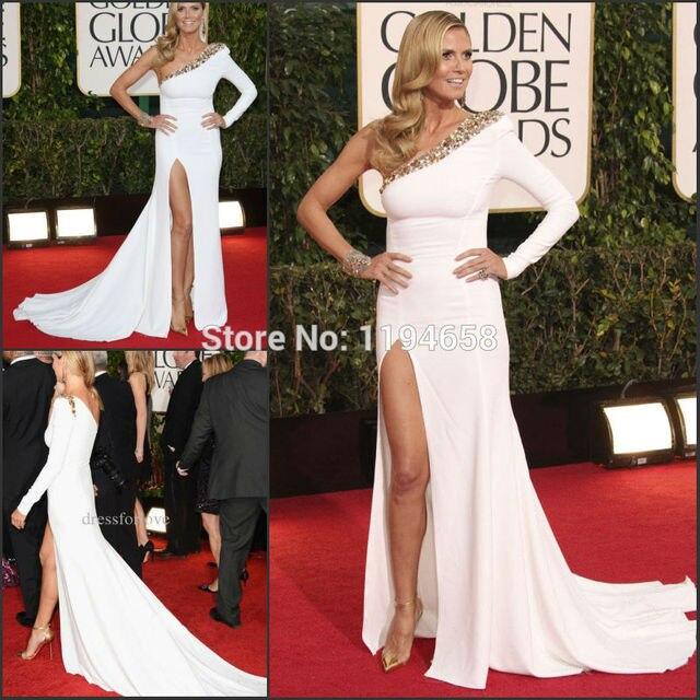 0d5113ceda7 Heidi Klum High Split 2013 70th Golden Globe Awards dresses White Beading One  Long Sleeve Celebrity Dresses Red Carpet