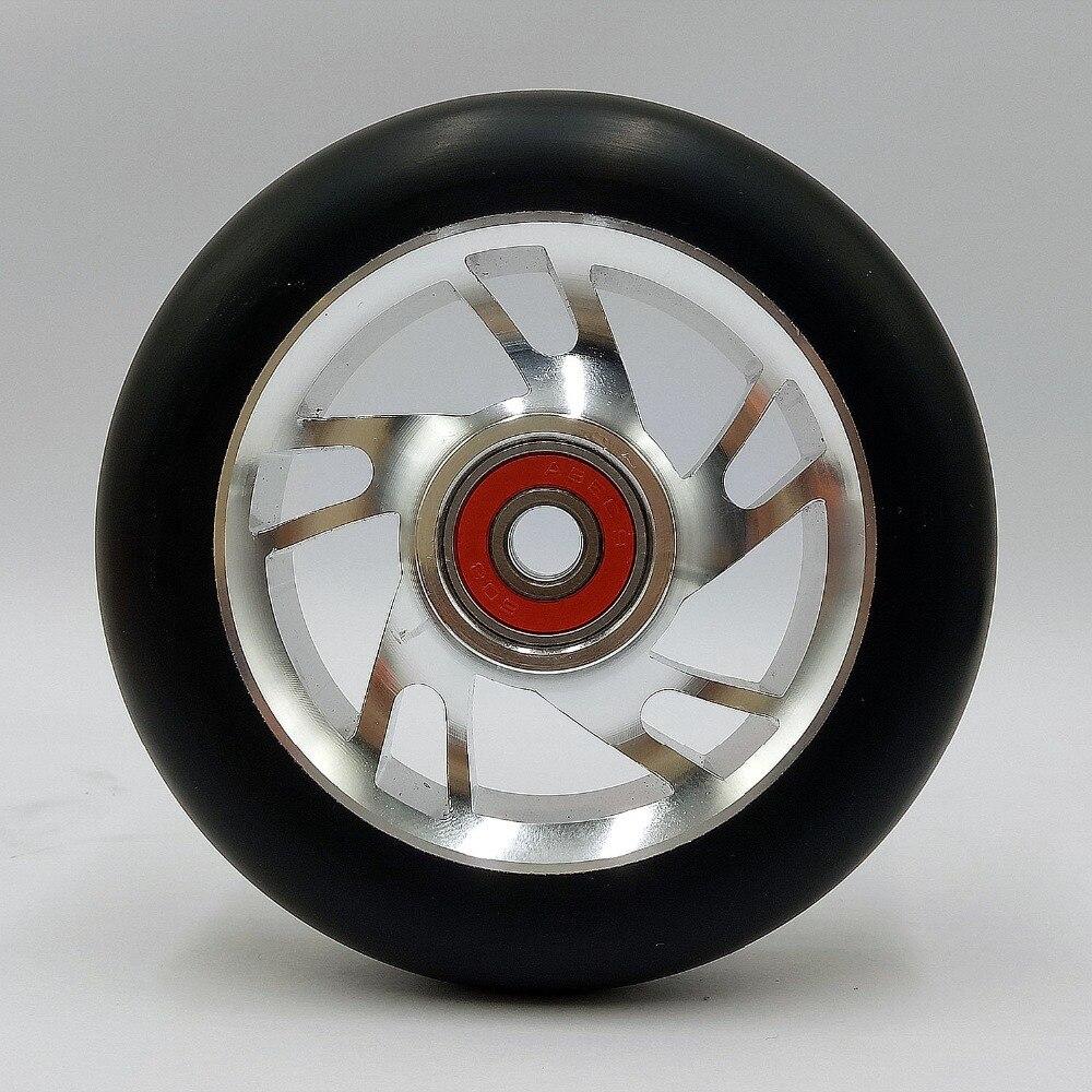 Prix pour Livraison gratuite coloré en aluminium freestyle truc roue cyclomoteurs noir PU blanc en aluminium scooter roues 2 pcs 100mm