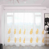 2Pcs Leaves Curtain Tulle Window Treatment Voile Curtain Balcony Door Curtain Drape Panel Sheer Tulle For Living Room
