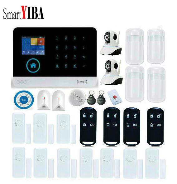 SmartYIBA WIFI Wireless Home Burglar Security GSM Alarm System Wireless Siren Video IP Camera Fire Smoke Detector APP Control
