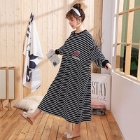 Fashion Night dress Plus Size Women Long Sleep Skirts Striped Knitted Cotton Nightwear 2019 Spring New Home Dress Clothing