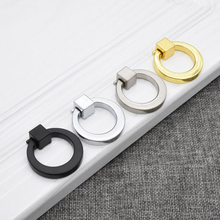 Ring Circle Handles Zinc Alloy Door Handle Pulls American Cabinet Drawer Knobs With Screws For Furniture Hardware 8 pcs/lot