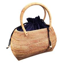 Rattan Braided Hand Woven Bag Tote Straw Handbag Handmade Totes Bamboo Summer Beach Bags For Women Satchel Female Travel Bag