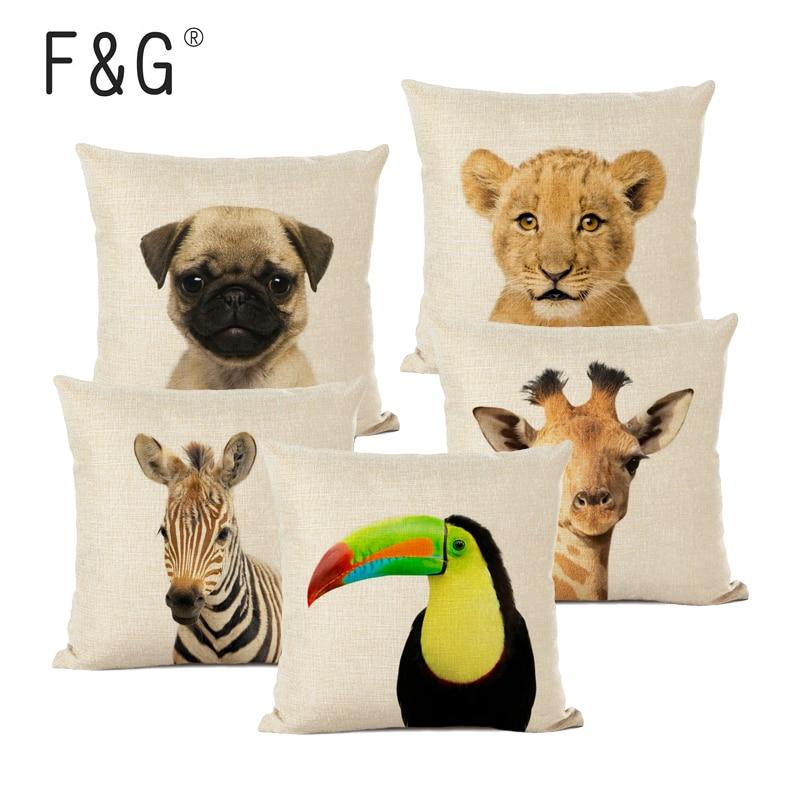 Cartoon Animal Decoration Cushion Cover Home Sofa Decor Custom Linen Pillow Cover Cute Cute Dog Zebra Lion Throw Pillow Case in Cushion Cover from Home Garden
