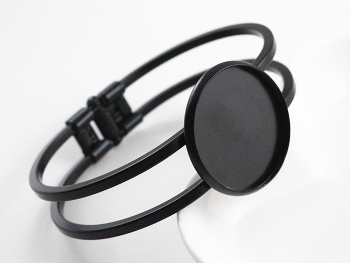High Quality  25mm Black Plated Bangle Base Bracelet Blank Findings Tray Bezel Setting Cabochon Cameo  (L1-42)