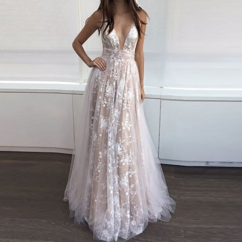 U-SWEAR Fashion Sexy Deep V-Neck Sleeveless Backless Floor-Length  A-Line Evening Dresses Party Prom Formal Gowns Robe De Soiree