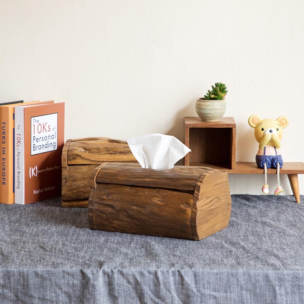 Thai teck boîte à mouchoirs en bois massif serviette boîte européenne rétro salon décoration de la maison ornements plateau LO922422