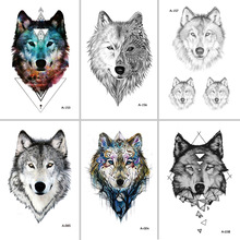 2017NEW Hot Design Tillfällig Tatuering för Vuxna Vattentät Tatoo Sticker Body Art Tribal Wolf Head A-069 Fake Tattoo Man Woman
