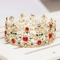 Red Stone Gold Baroque Round Wedding Princess Bridal Tiara Crown Hair Accessories Pearl Headband