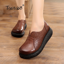 Tastabo płaski obcas kobieta buty ręcznie płaskie buty ze skóry naturalnej miękkie wygodne buty dla kobiet obuwie damskie