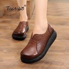 Tastabo, zapato plano de plataforma para mujer, zapatos planos hechos a mano genuino de cuero, zapatos blandos cómodos para mujeres, zapatos de mujer