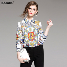Wholesale New Arrival 2019 Fall Runway Vintage Print Collar Long Sleeve OL Turn-Down Neck Womens Party Casual Top Shirts Blouse