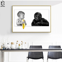 Canvas Artwork Lovely Posters and Prints Orangutan Wall Art Painting Pictures for Living Room Decoration