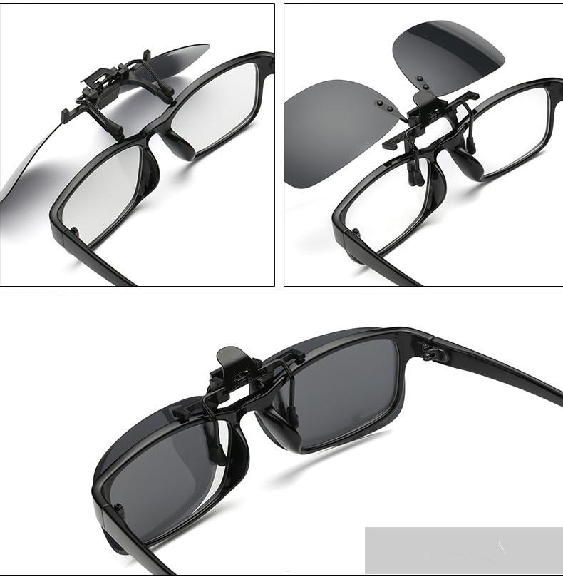 Lipat Lensa Polaroid Terpolarisasi Klip Kacamata klip kacamata persegi Pria  Wanita cermin klip Matahari Kacamata Night Vision Mengemudi be081f0560