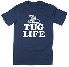 цены на Tug Life - Funny Boat T-shirt New T Shirts Funny Tops Tee New Unisex Funny Tops Summer Short Sleeves Cotton T-Shirt Black Style  в интернет-магазинах
