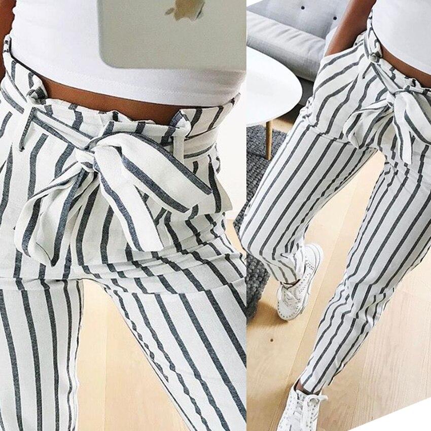 2018 fashion autumn women casual mid waist pants white striped bow tie drawstring sweet elastic waist pockets casual trousers