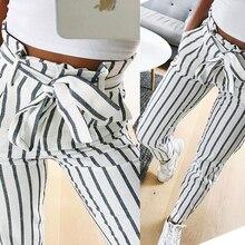 2019 moda Otoño mujer casual media cintura Pantalones blanco rayas lazo cordón dulce elástico cintura bolsillos casual Pantalones