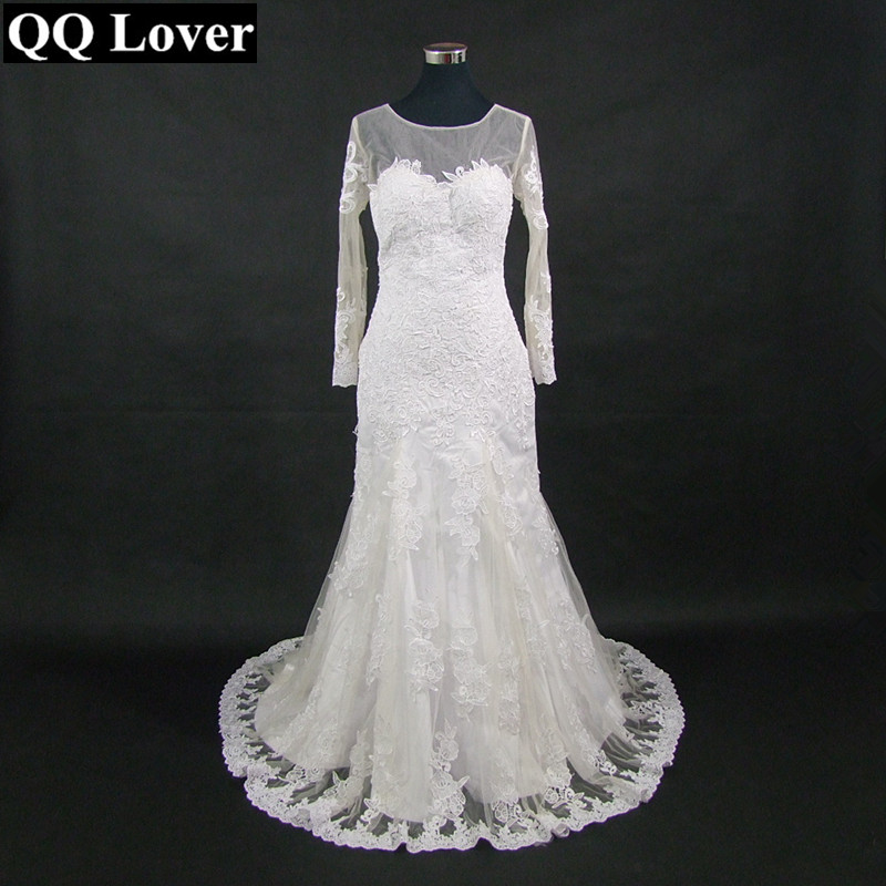 QQ Lover 2019 New Skin Color Tulle Mermaid Wedding Dress
