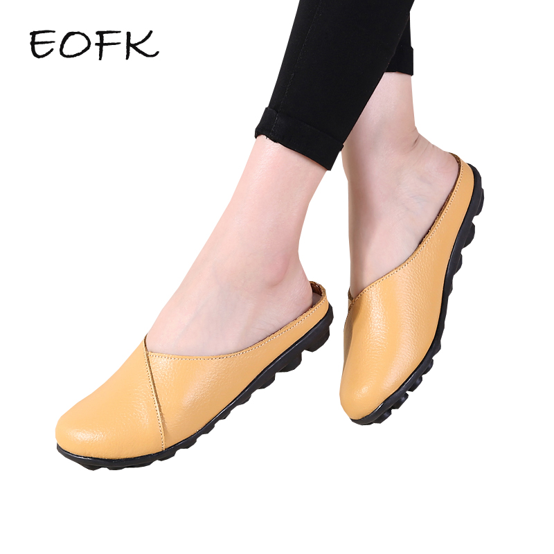 EOFK New Summer Women Genuine Leather Slippers High Quality Slingback Outside Ladies Soft Comfortable Flats Half