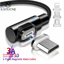 Magnetic Micro USB Cable 3A 90 Degree For Xiaomi Huawei Android Mobile Phone Fast Charging Charger Data Sync Cord