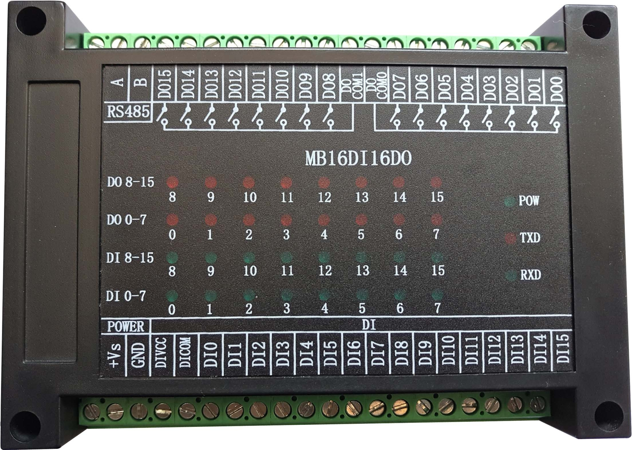 Switch Input and Output 16 Way Open 16 Way Relay Output Module RS485 MODBUS-RTU Communication