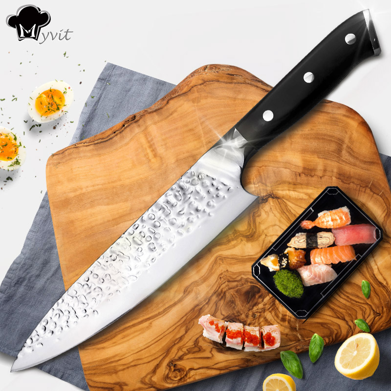 Kitchen Knife Chef 8 inch Stainless Steel Knives Sushi Meat Santoku Japanese 7CR17 440C High Carbon Knife Cooking Pakka Wood