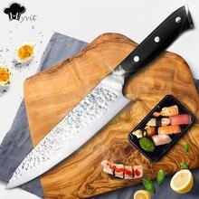 Кухня Ножи шеф-повар 8 дюймов Нержавеющаясталь ножей суши мясо Santoku японский 7CR17 440C высокоуглеродистой Ножи Пособия по кулинарии Pakka Деревянная