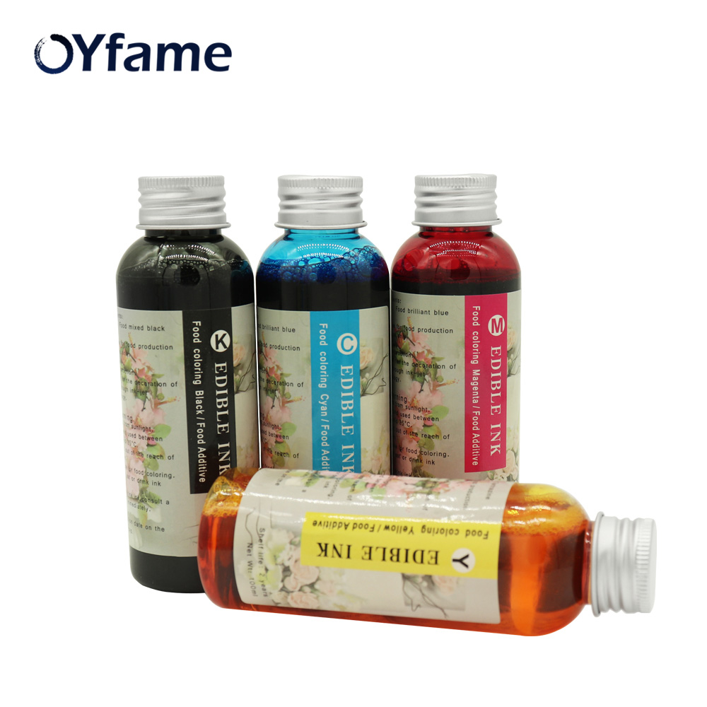 OYfame Safety 4 100ml universal Edible ink food ink for case candy chocolate coffee printer ink