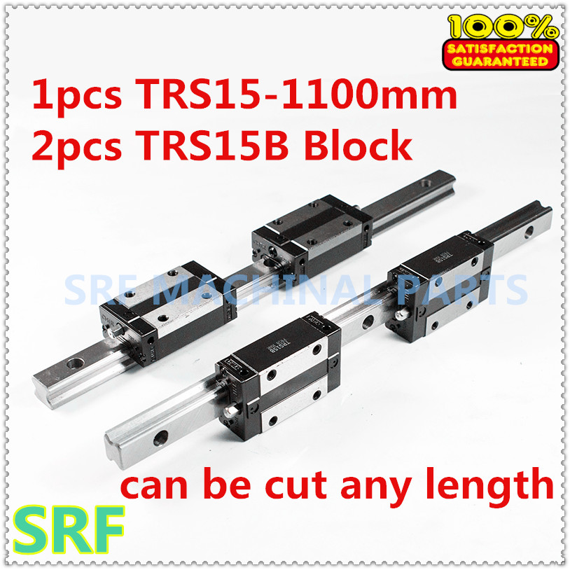 Low assembly Linear guide rail 1pcs 15mm width TRS15 L=1100mm+2pcs TRS15B Square slide block Linear Motion Guide Way linear motion guide way square linear bearing guide linear guide brh25a