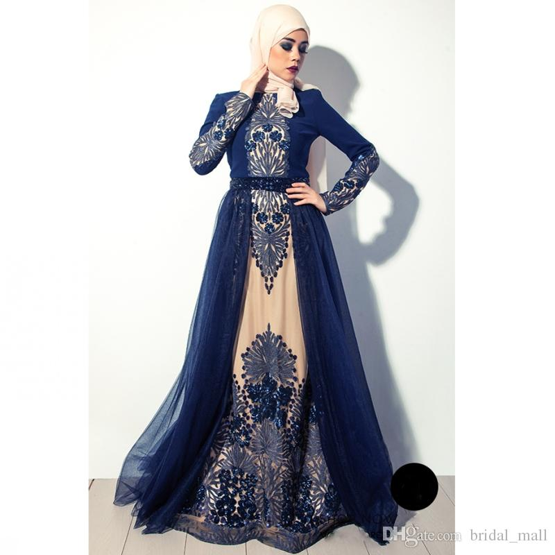 High quality Navy Blue Muslim Evening Dress In Dubai Arabia hijab long sleeves formal gowns beaded embroidered prom dress