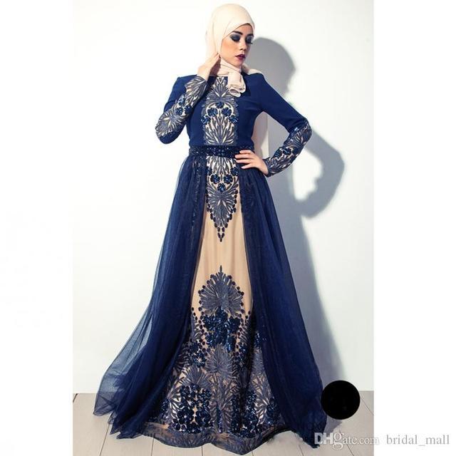 Hochwertigen Marineblau Muslimischen Abendkleid In Dubai Arabien ...