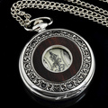 New Arrival Steampunk Silver Wood Inlay Cover Mechanical Pocket Watch Necklace