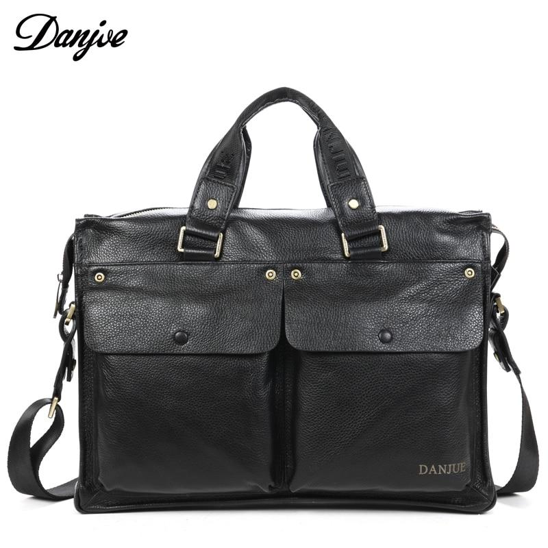 DANJUE Genuine Leather Men Black Zipper Handbag with Flap Pocket Business Briefcase Laptop Shoulder Bags High capacity soft Skin все цены