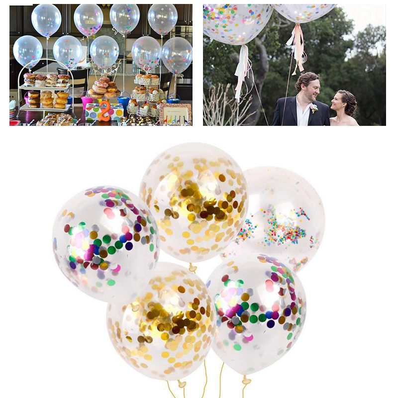 1PC 12 Inch Wedding Decorations Large Gold Silver Confetti Balloon Big Clear Latex Balloons with Foil Sequins Party Favors Baby