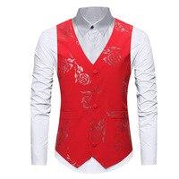 Red Rose Flower Vest Men S M L XL Black Blue Mens Vests Waistcoat