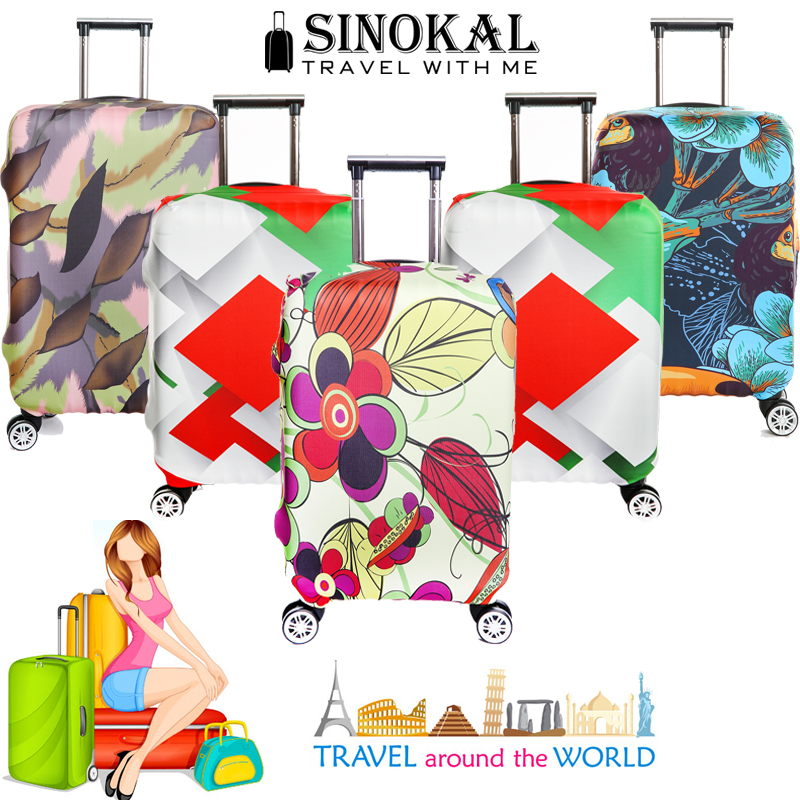 Cute 3D Colorful Butterfly Pattern Luggage Protector Travel Luggage Cover Trolley Case Protective Cover Fits 18-32 Inch