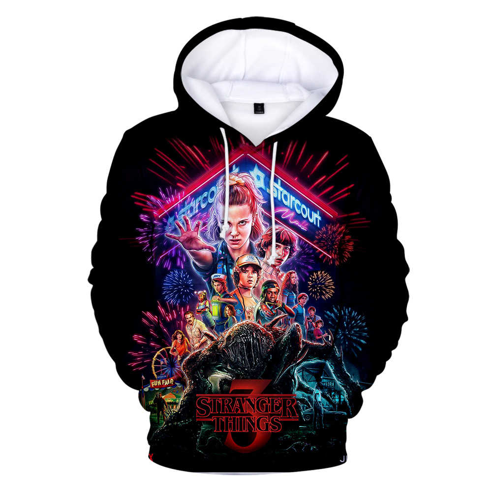 Dropship 2019 Hot Men's Hoodie Stranger Things Season 3 Sweatshirt Tv Series Stranger Things 3d Print Winter Warm Hoodies Tops