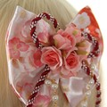 Sweet Sakura Pink Bow and Flower Lolita Hairpin/Brooch with Pearls