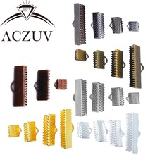 1000pcs 6mm 8mm 10mm 13mm 16mm 20mm 25mm 30mm 35mm Ribbon Cord End Fasteners Clasps Clips Crimp Beads Jewelry Findings RCE001