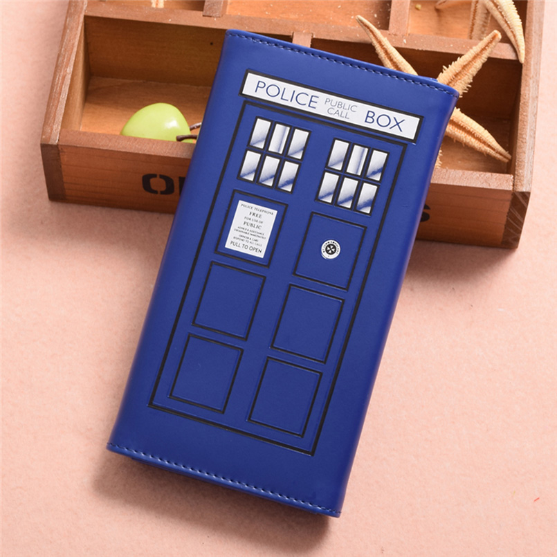 Doctor Who Tardis Snap Close Hand Purse Clutch Wallet High Quality PU Leather Blue Wallet Women Vintage
