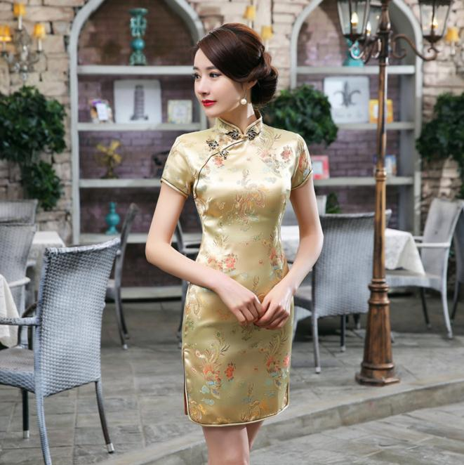 Chinese Style Gold Female Mandarin Collar Dress Vintage Satin Cheongsam Short Mini Qipao S M L XL XXL XXXL 4XL 5XL 6XL WC027