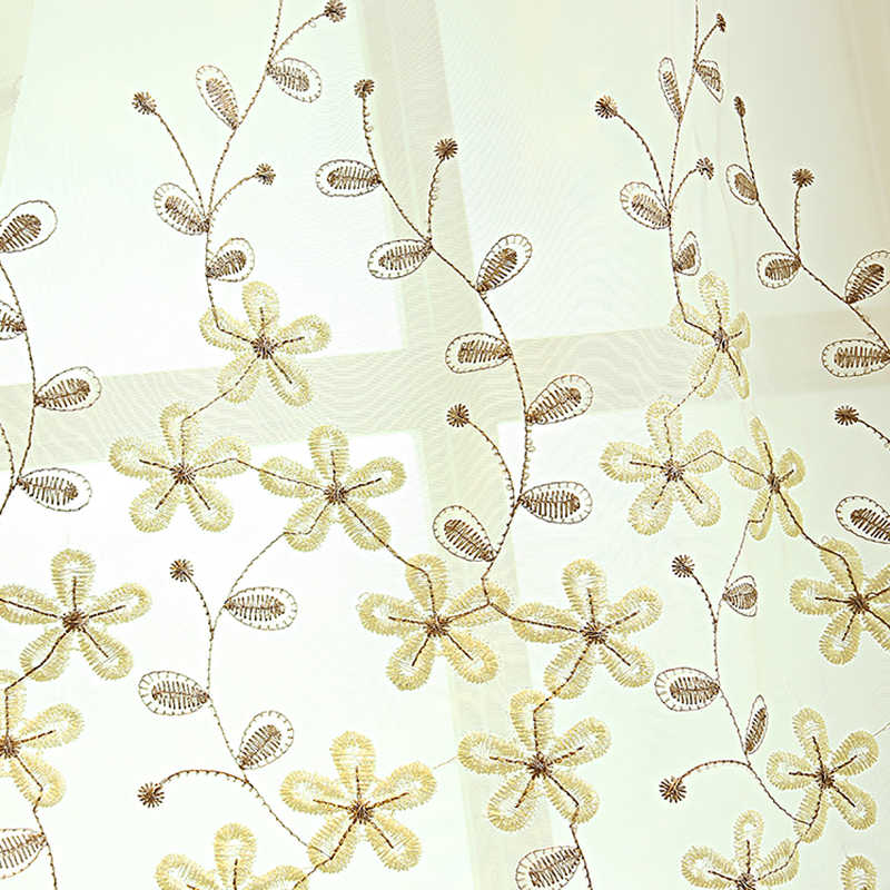Korean Garden White Flower Embroidery Tulle Curtain For Living Room Kitchen Bedroom Sheer Voile Window Treatments WP273#30