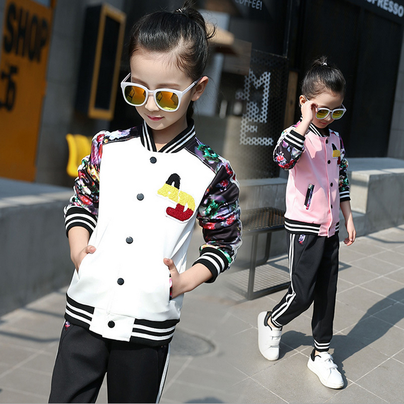 Girls Sport Suits Girls Spring Autumn Set 2017 Teenage Girls' Clothing Set Long Sleeve Top & Pants 2 pcs Outfits Girls Tracksuit