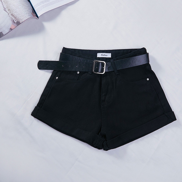 Basic Cuffed Cotton Denim Shorts Women High Waist Washed Essential Jeans Shorts S M L XL