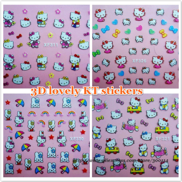 wholesale new pattern 3D kitty cartoon micky Nail Art Stickers XF311-XF334 serial Nail decal tip 1000packs/lot free EMS shipping