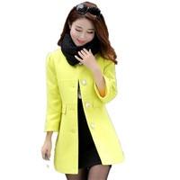 Women Winter Wool Jacket Elegant Female Slim Long Overcoat Casual Green Mid Length O Neck Coats Blended
