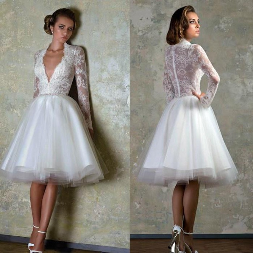 2016 Vintage Wedding Dress Sexy Deep V Neck Lace Sheer